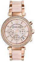 Michael Kors Parker Pavé Rose Goldtone Stainless Steel Chronograph Bracelet Watch