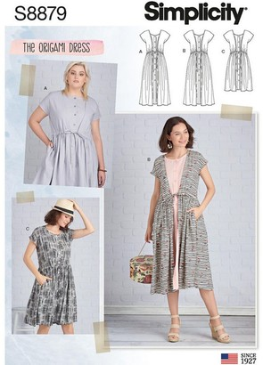 Simplicity Womens' Origami Dress Sewing Pattern, 8879, A