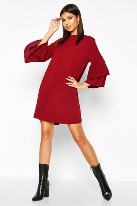 boohoo Volume Sleeve Woven Shift Dress