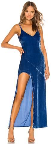 For Love & Lemons Nadine Velvet Cobalt Gown
