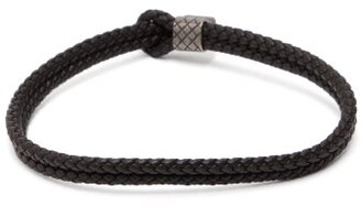 Bottega Veneta Double Intrecciato Leather Bracelet - Mens - Black