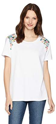 Serene Bohemian Women's Short Sleeve Tee with Floral Embroidery on The Shoulder