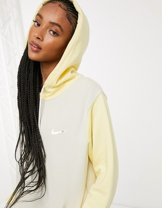 Nike mini metallic swoosh oversized colour block hoodie in tonal yellow