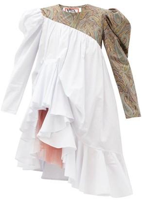 Matty Bovan - Emma Asymmetric Puff-sleeve Cotton Dress - White