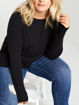 V By Very Curve Jersey Long Sleeve Swing Top - Black