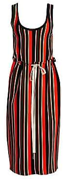 Proenza Schouler Women's Stripe Tie-Waist Knit Midi Tank Dress