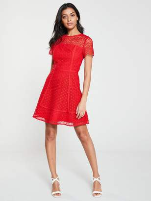 Very Lace Skater Dress - Red