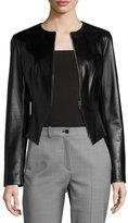 Michael Kors Modern Leather Peplum Jacket, Black