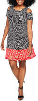 Ronni Nicole Short Sleeve Dots A-Line Dress-Petites