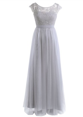 Freebily Womens Ladies Lace Wedding Bridesmaid Evening Prom Ball Gown Tulle Maxi Long Dress Pearl Pink 14