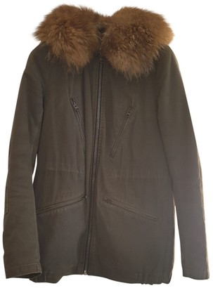 Yves Salomon Green / Grey Cotton Coat for Women