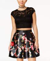 Teeze Me Juniors' 2-Pc. Lace Floral-Print Dress