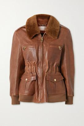 Chloé Faux Fur-trimmed Leather Jacket - Brown