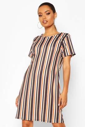 boohoo Jersey Stripe Crew Neck Shift Dress