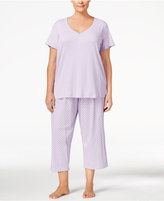 Charter Club Plus Size Mix It Henley-Style Top and Cropped Pants Pajama Set, Only at Macy's