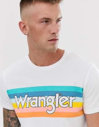 Wrangler rainbow chest logo t-shirt in white