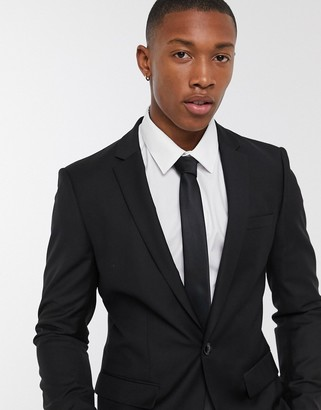 Topman skinny suit jacket in black