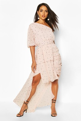 boohoo Dobby Sparkle Mesh One Shoulder High Low Midaxi
