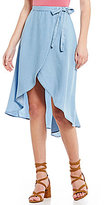 Soulmates Chambray High-Low Wrap Skirt