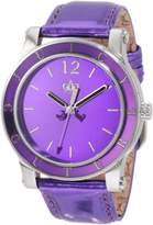 Juicy Couture Women's Purple Dial Shiny Purple Genuine Leather