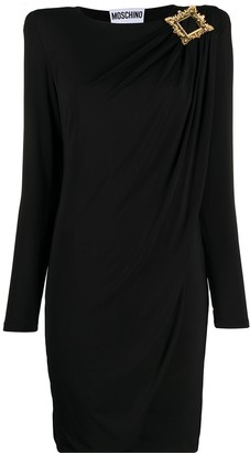 Moschino Frame-Buckle Draped Jersey Dress