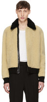 Saint Laurent Beige Shearling Bomber Jacket
