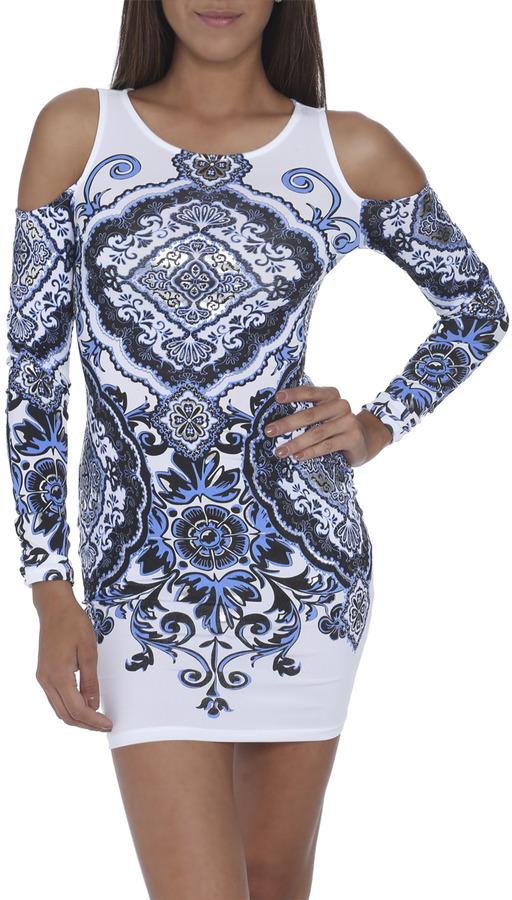 Arden B Cold Shoulder Paisley Dress