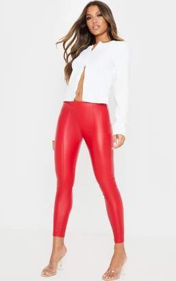 PrettyLittleThing Red Zip Side Coated Jeans