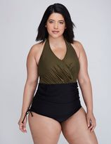 Lane Bryant Shimmer Swim One-Piece with Adjustable Skirt & Built-In No-Wire Bra