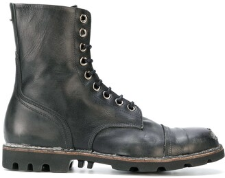 Diesel Distressed Lace-Up Boots