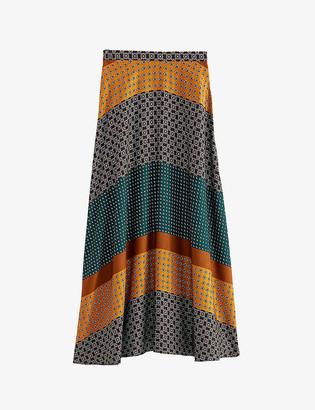 Claudie Pierlot Sapinos geometric-print silk maxi skirt