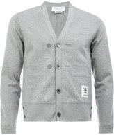 Thom Browne v-neck cardigan - men - Cotton/Nylon/Polyurethane/Cupro - 0