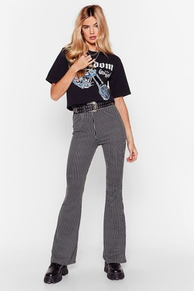 Nasty Gal Womens You'll Be Line Striped Flare Trousers - Black - 6