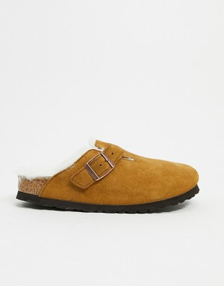 Birkenstock Boston clogs in mink with fur lining