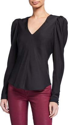 Frame Shirred Puff-Sleeve V-Neck Top