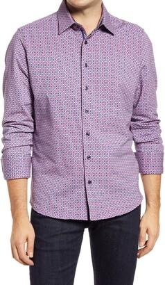 Stone Rose Geo Print Knit Performance Button-Up Shirt
