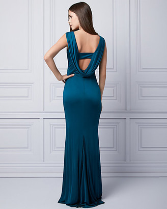 Le Château Embellished Silk Knit Cowl Neck Gown