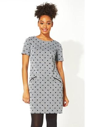 M&Co Roman Originals polka dot checked smart shift dress