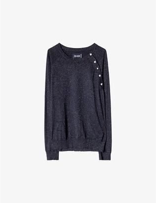 Zadig & Voltaire Reglis buttoned-shoulder wool-blend jumper