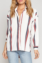 Amuse Society Striped Oversized Blouse