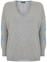 Mint Velvet Star Sleeve Jumper, Light Grey