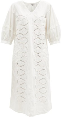 Sea Maria Puff-sleeve Broderie-anglaise Cotton Dress - White