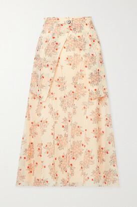 Chloe - Layered Floral-print Silk-chiffon Midi Skirt - Cream