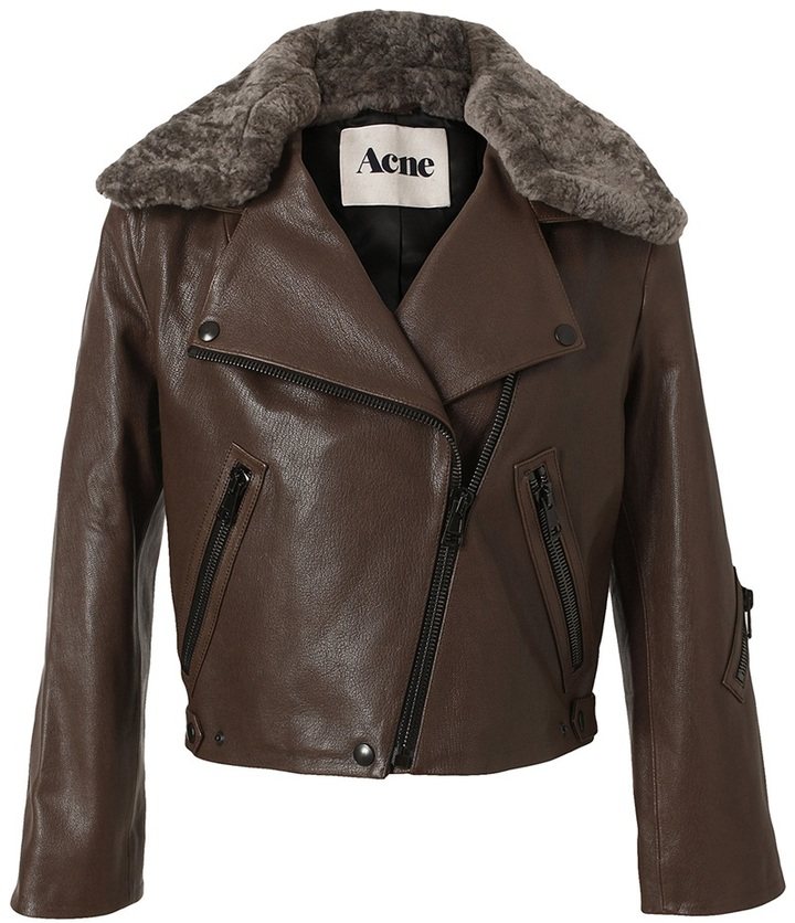 Acne 'Rita' leather and shearling jacket