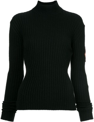 Chanel Pre Owned Patch Sleeve Knit Top