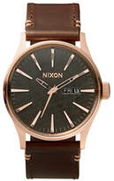 Nixon Analog Sentry Rose-Goldtone Leather Strap Watch