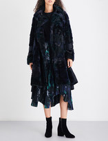 Sacai Contrast-panel faux-fur coat