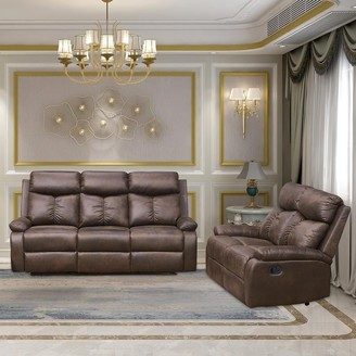 Overstock Vanity Art Brown Microfiber 2-Piece Reclining Loveseat with One Motion Sofa One Motion Loveseat Living Room Set