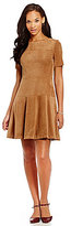 Jessica Howard Elbow Sleeve Faux-Suede Seamed Fit-and-Flare Dress