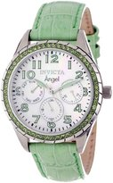 """Invicta Women's 12605 """"Angel"""" Stainless Steel, Lime Green Leather, and Crystal Watch"""